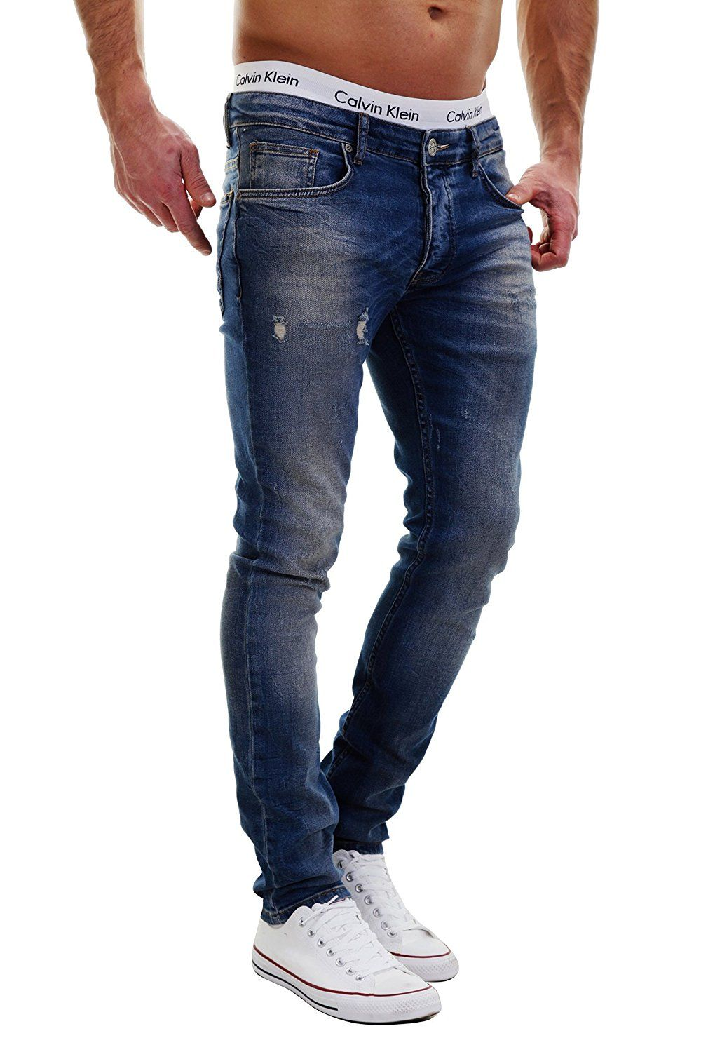 Merish Jeans Herren destroyed Used Look Hard Bleached Dark