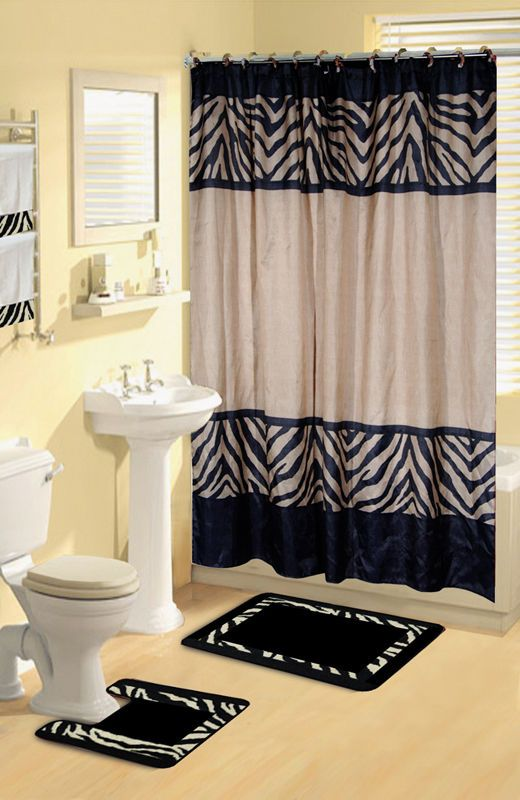 Modern Zebra Safari Animal Print 17 Pc Bath Rug Shower
