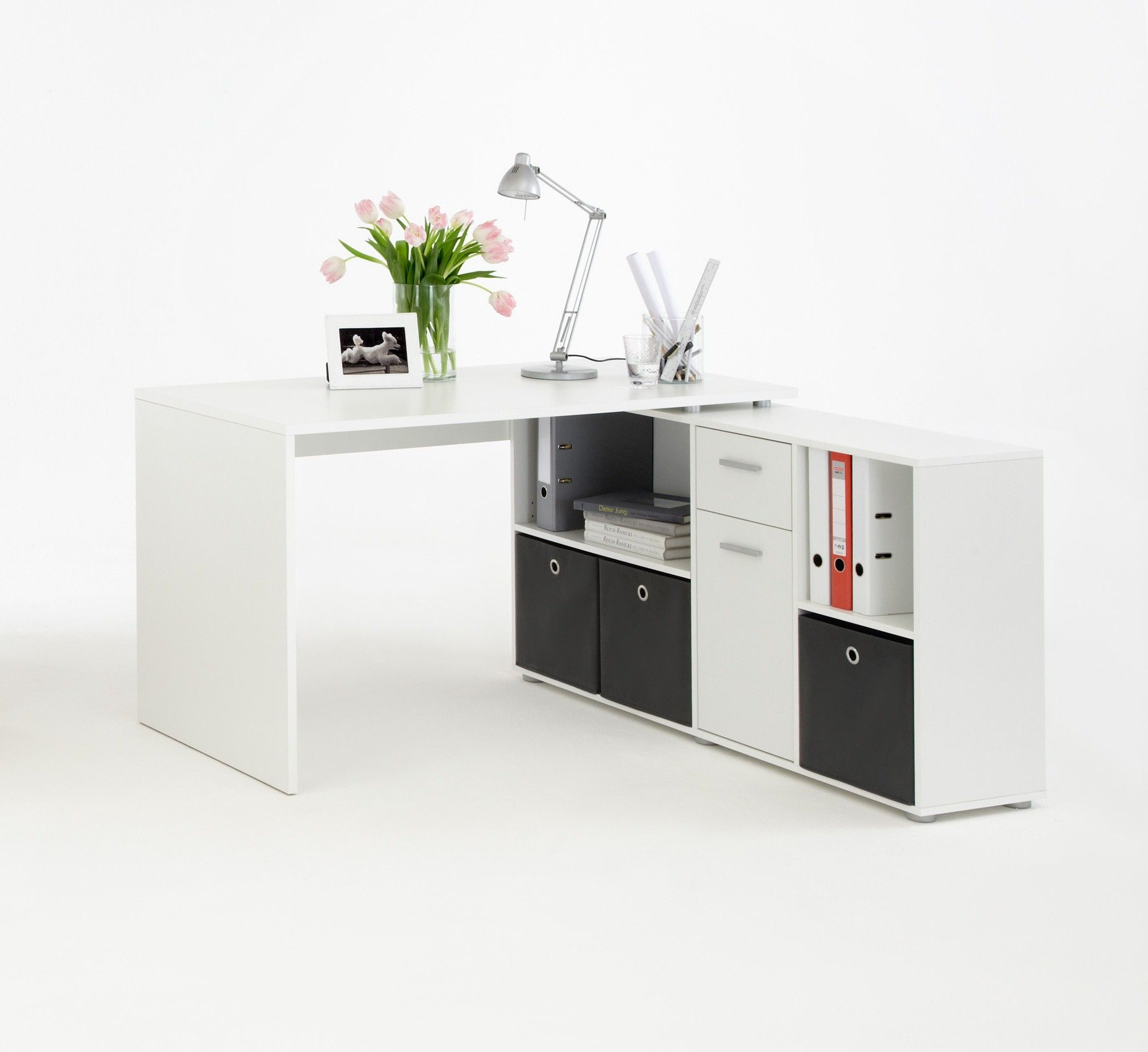 Bureau dangle rversible contemporain blanc Phnicia