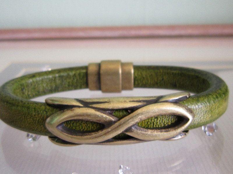 Regaliz Olive Green Distressed Leather Brass Infinity Symbol Brass