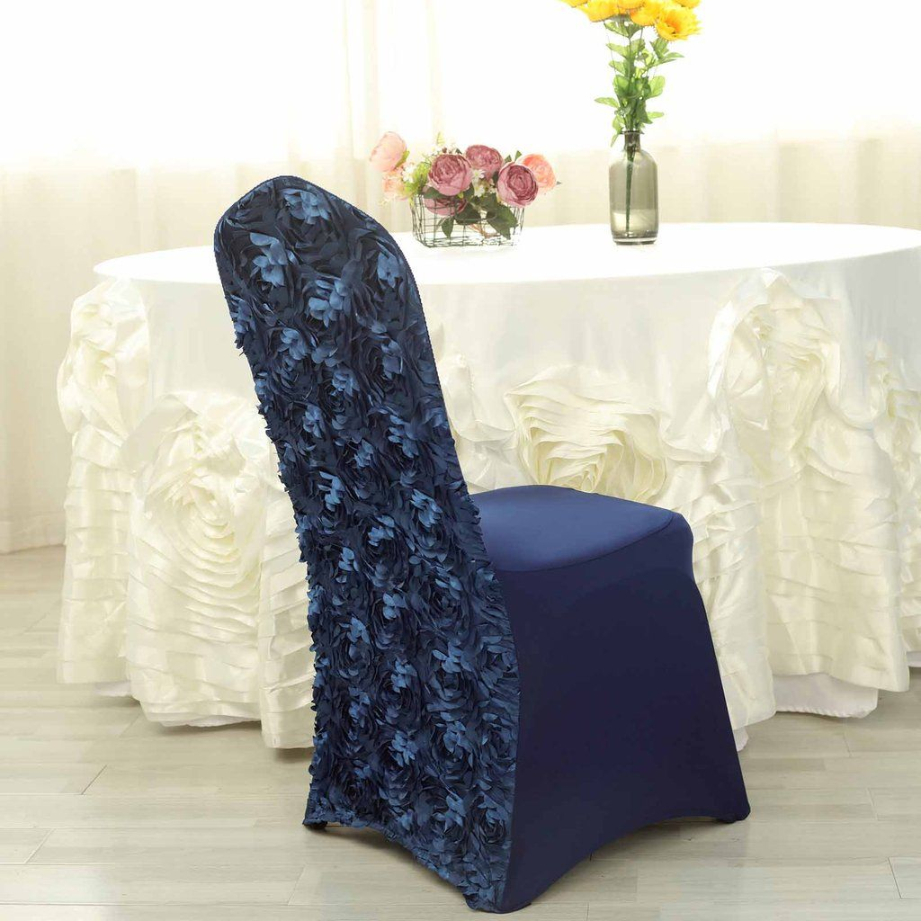 Incredible Navy Blue Satin Rosette Stretch Banquet Spandex Chair Cover Alphanode Cool Chair Designs And Ideas Alphanodeonline