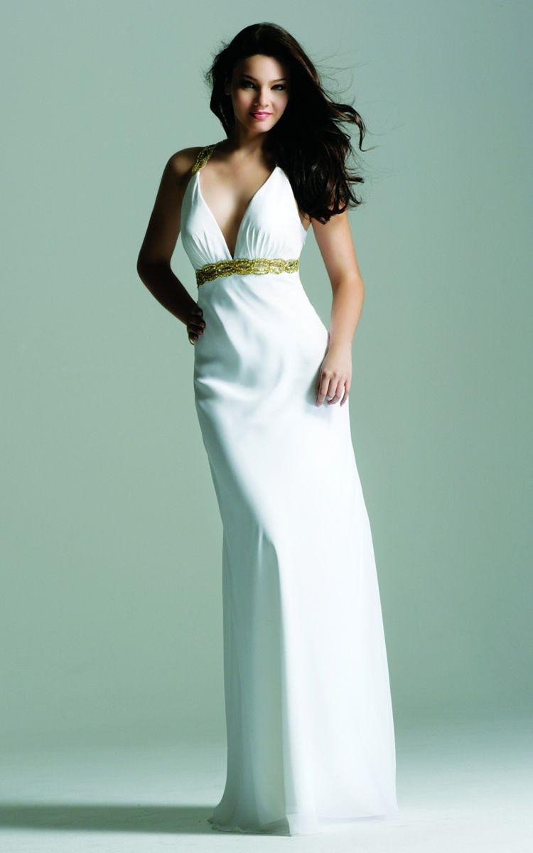 Faviana 6120 White Deep V Neck Long Chiffon Prom Dress | Design ...