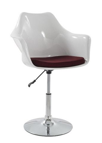 Eero Saarinen Style Tulip Arm Chair White with Adjustable Chrome Base | Contemporary Furniture Warehouse