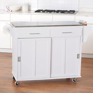 Kitchen Cart Sliding Door Stainless Steel Top Jcpenney Doors
