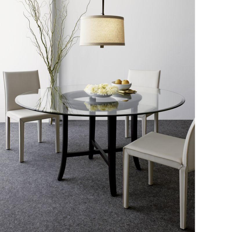 Halo Ebony Dining Table With 60 Glass Top Crate And Barrel