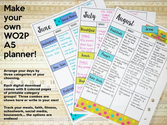 Make Your Own A5 Planner Wo2p Vertical Like Erin Condren Happy Planner Three Categories How To Use Planner How To Make Planner Happy Planner Free Printable
