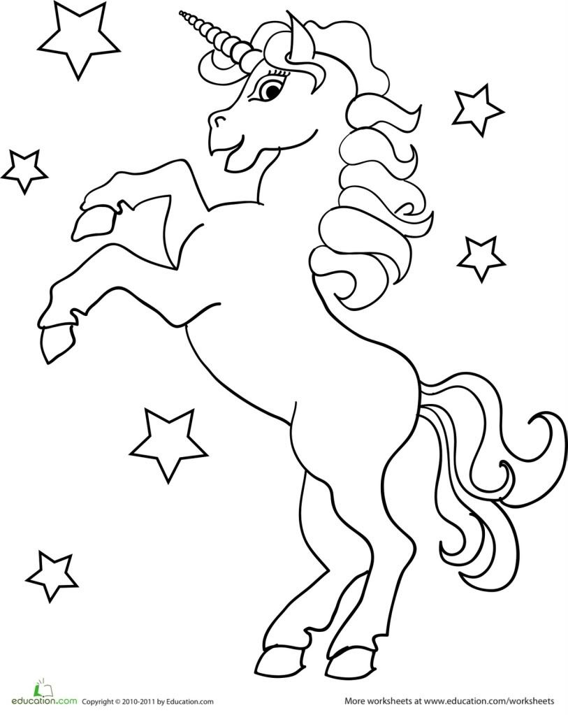 free unicorn coloring pages # 3