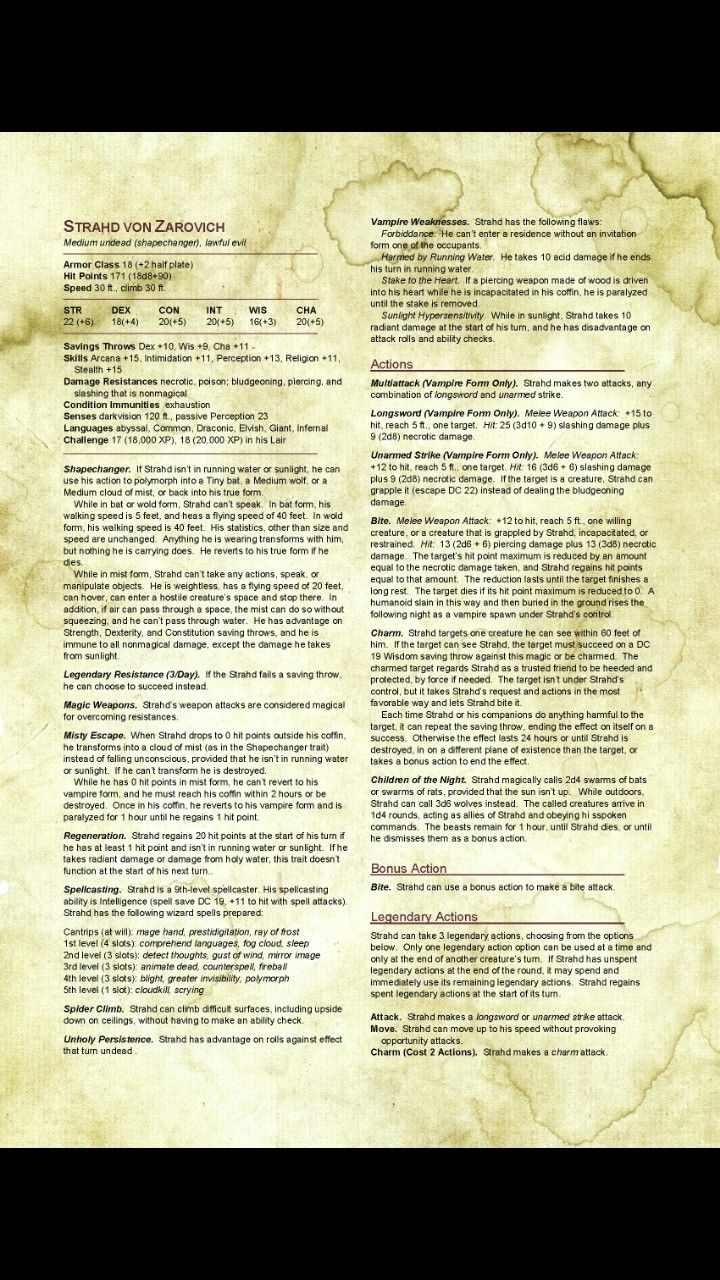 Updated Strahd Von Zarovich Dungeons And Dragons Homebrew Dnd Monsters Dungeons And Dragons Characters