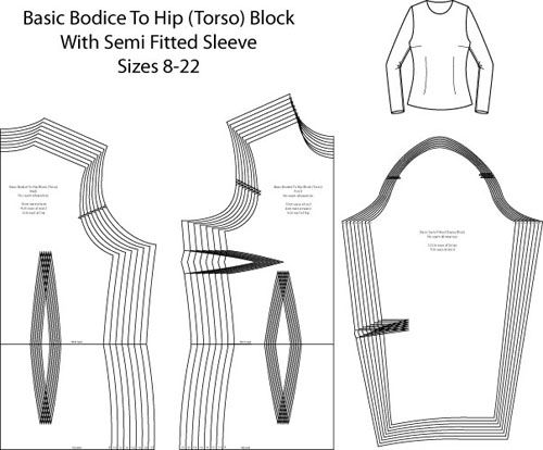 Basic Hip Length Bodice and Sleeve Pattern Block - Laura Marsh ...