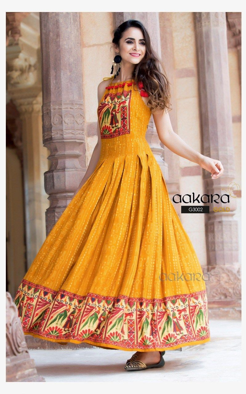 9d79303d98c661 Yellow Maxi Kurta.. For more Latest Designs Download the Free Android App