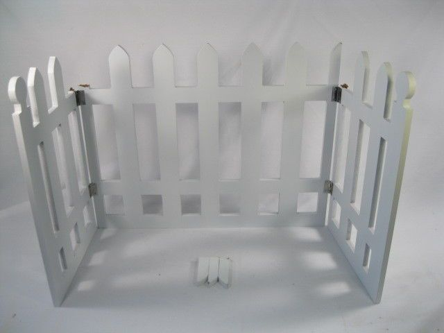 White Wooden Indoor/Outdoor Picket Fence 3 Section Folding Pet Dog ...