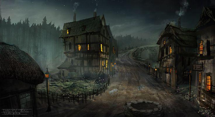 Haunted English Village Fantasy City Fantasy Town Fantasy Landscape