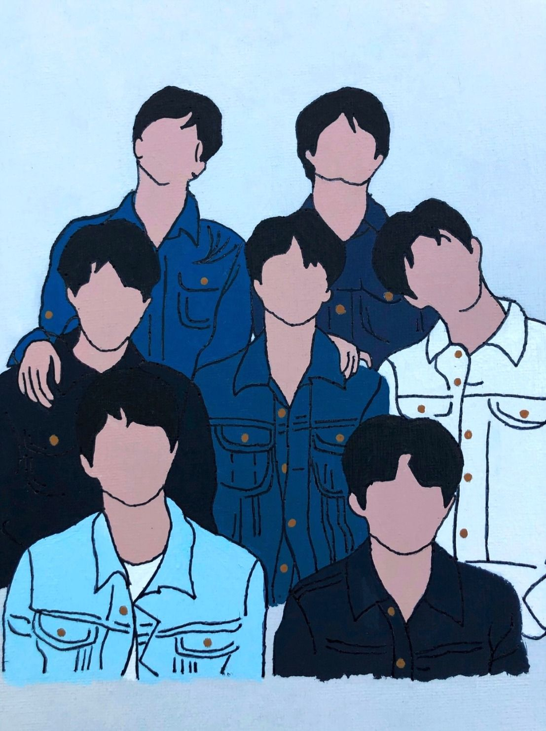 Bts jean jacket silhouette painting in 2020 silhouette
