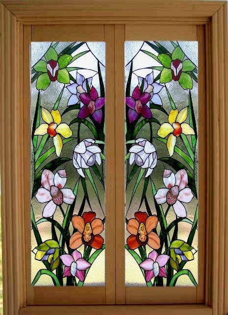 Mosaic   Dollhouse Miniature Stained Glass French Door Films