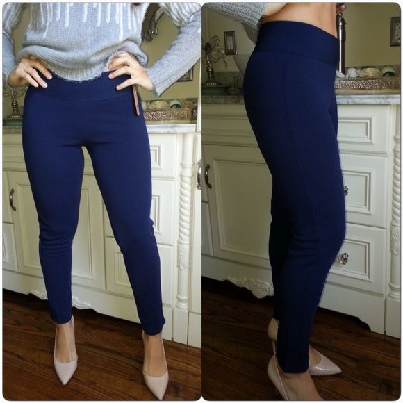 "BESTSELLER! (S/M/XL) Blue ponte knit skinny pants Blue skinny pants. Wide stretch waistband. Textured ponte knit material. Pull on style. Soft and comfy. Mid rise. 65% polyester 35% cotton. Inseam is 30"". Great for work or casual wear. SMALL: waist stretches to 24"". MEDIUM: waist stretches to 28"". LARGE: waist stretches to 32"". XLARGE: waist stretches to 36"". CupofTea Pants Skinny"