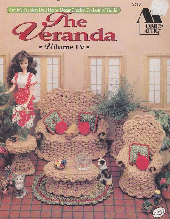Barbie Doll Furniture Crochet Patterns - Wicker-look Chair Settee Tables
