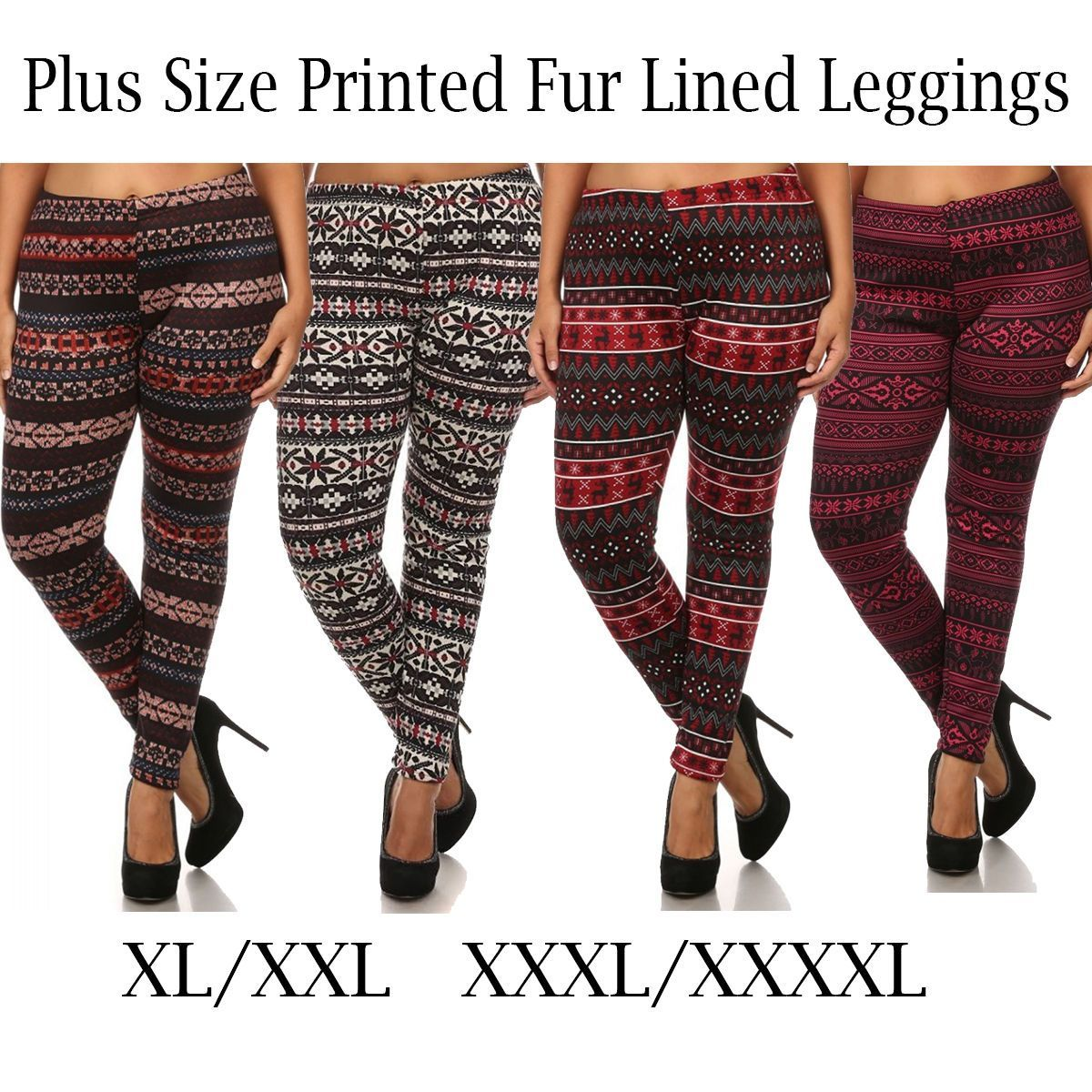 99b7c6c51d2059 Snowflake Deer Winter Fur Reindeer Knitted Leggings S M L Juniors Plus 1X  2X 3X