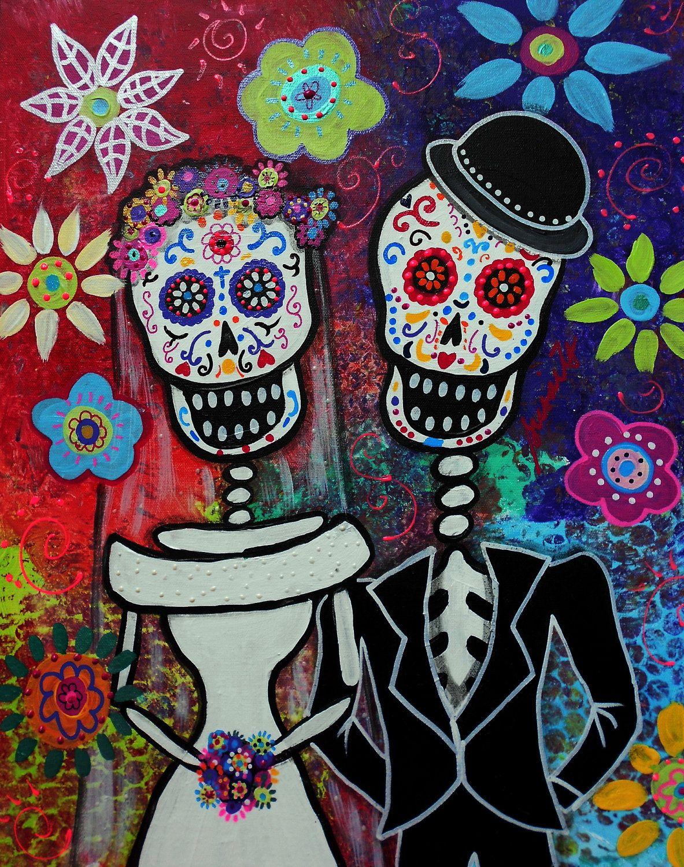 Folk Art Mexican Day Of The Dead Wedding Dia De Los Muertos Original Painting