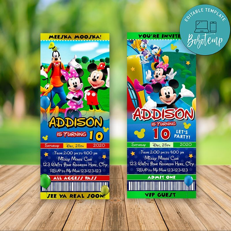 Printable Minnie Mouse Clubhouse Birthday Ticket Invitations Diy