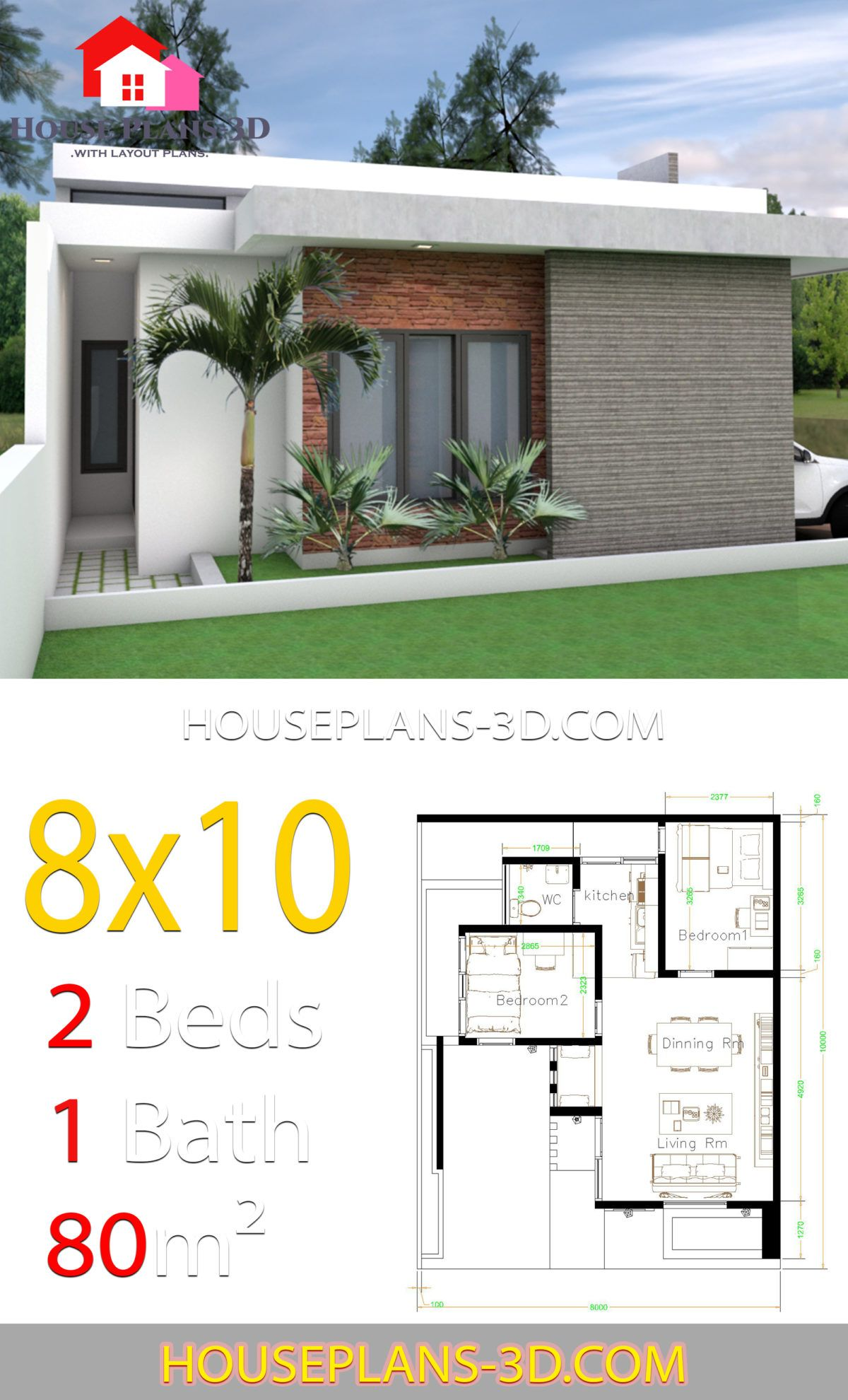 House Design 8x10 With 2 Bedrooms Terrace Roof House Plans 3d Architectural House Plans House Construction Plan House Plans