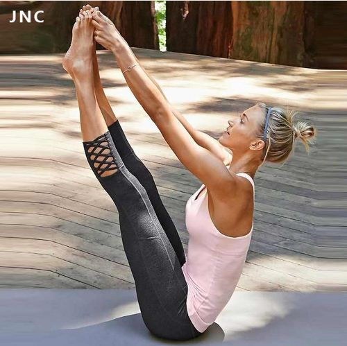 The Women Mesh Splice Yoga Pants is made of spandex. Its fabric is broadcloth and has an elastic wai...