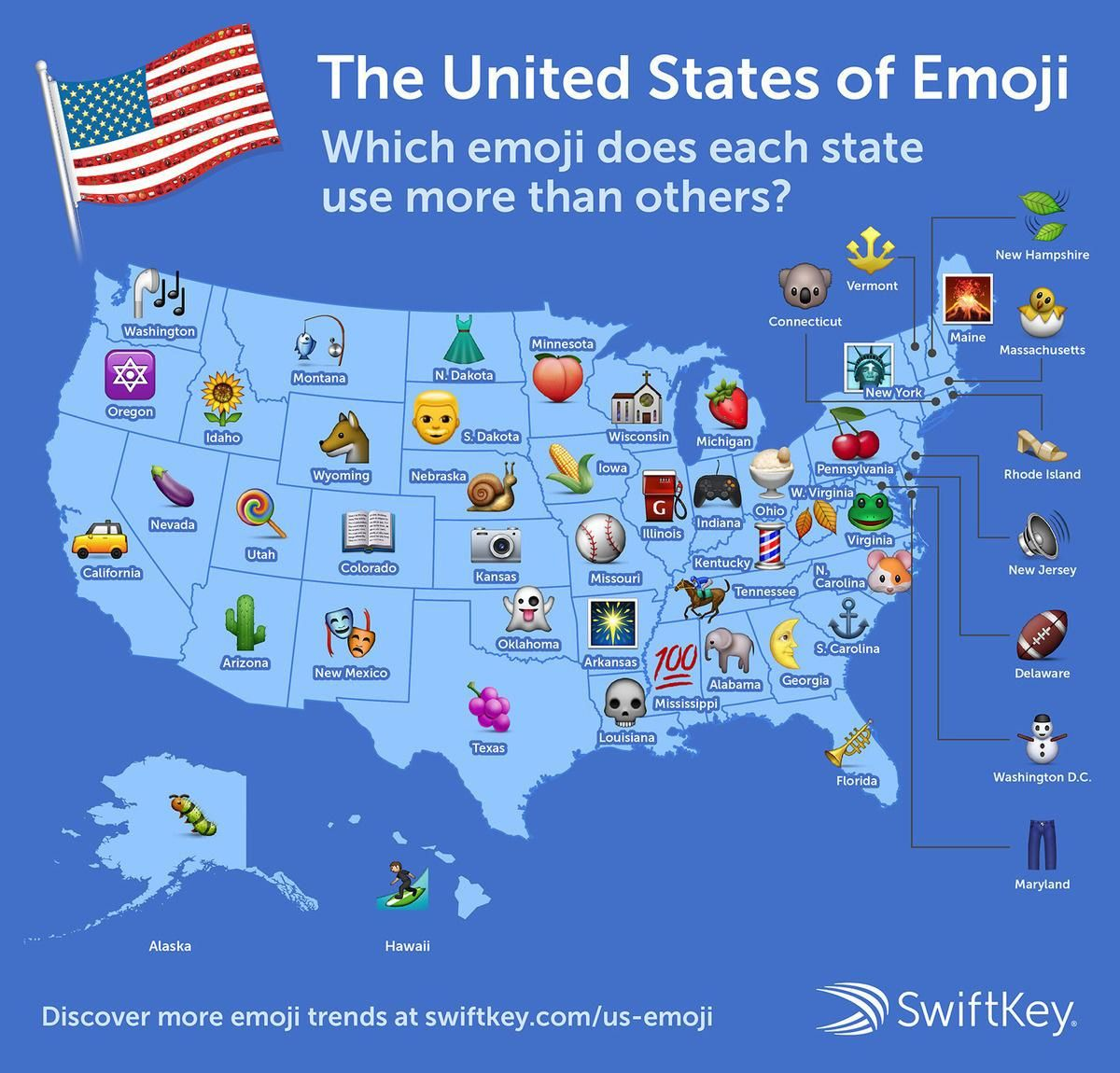 The Most Popular Emoji In Every State Infographics Map Emoji - Us-map-key