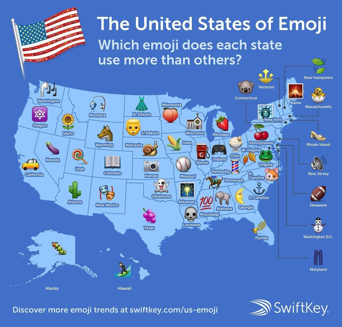 The Most Popular Emoji In Every State United States Map Map Emoji