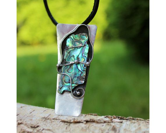 The Map  Paua Shell Tiffany Soldered Pendant by AtelierQ on Etsy
