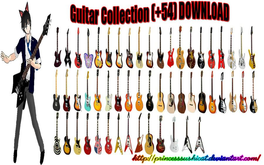 MMD Guitar Collection + DL by PrincessSushiCat | mmd model