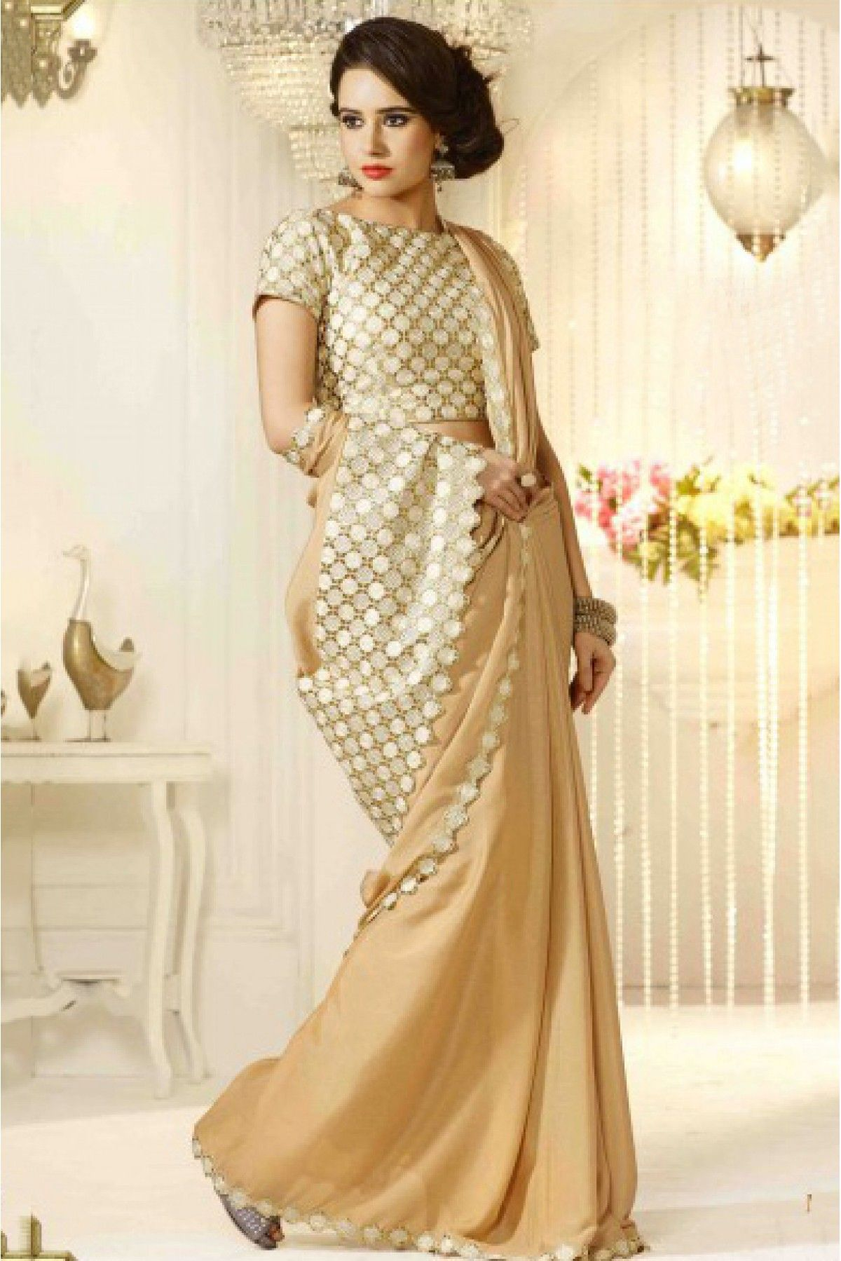 62a499d1e3 Georgette Party Wear Saree in Cream Colour.It comes with matching Blouse.It  is
