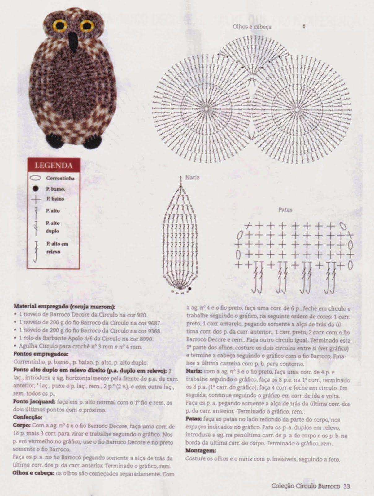 tapete coruja de croche com/ grafico - Pesquisa Google | Animales ...