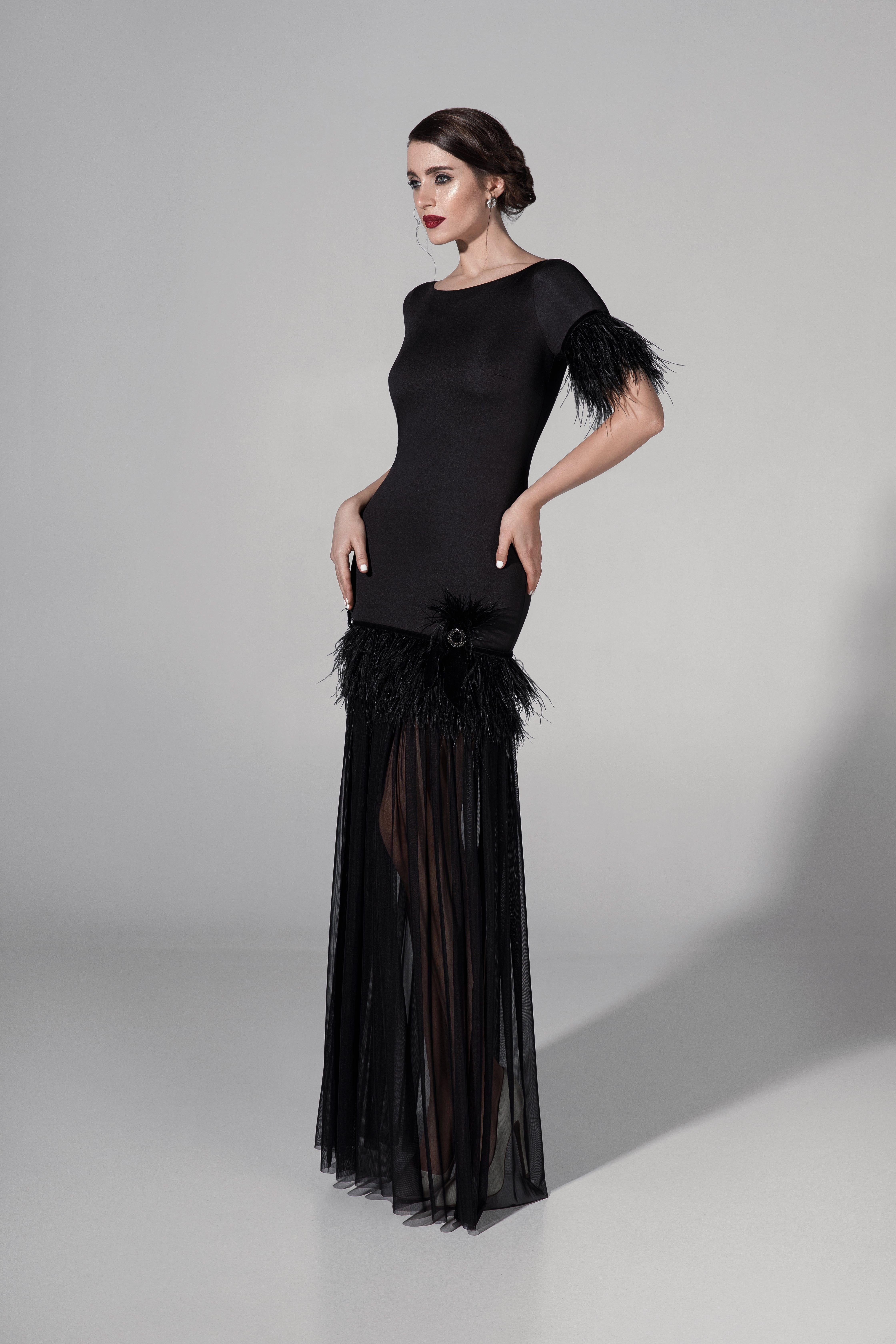 Black Feathers. Evening dress collection, Black feathers