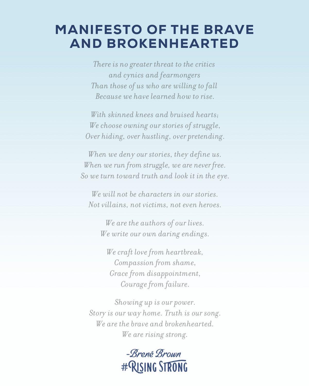 Brene Brown Rising Strong Manifesto
