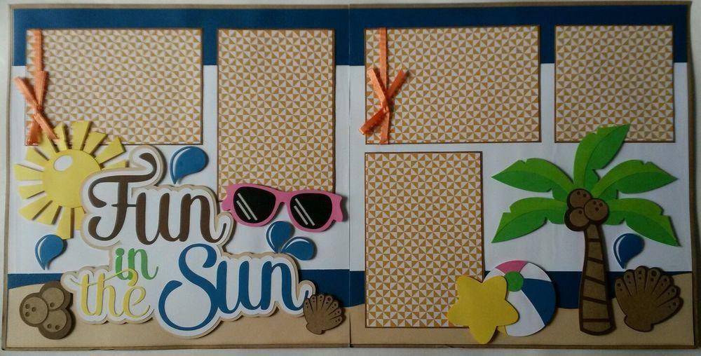 Fun Summer Sun Beach 2-12X12  Premade Scrapbook Pages Handmade Paper Piecing
