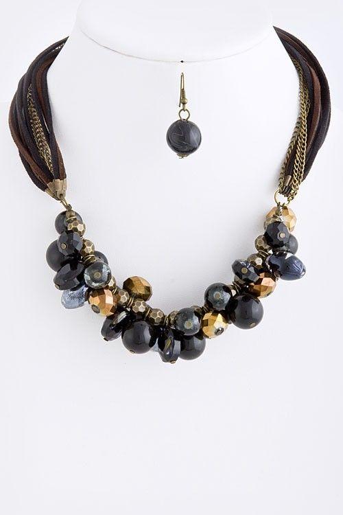 DivaByDzine - Stone Bead Cluster Necklace Set, $20.00 (http://www.divabydzine.com/stone-bead-cluster-necklace-set/)