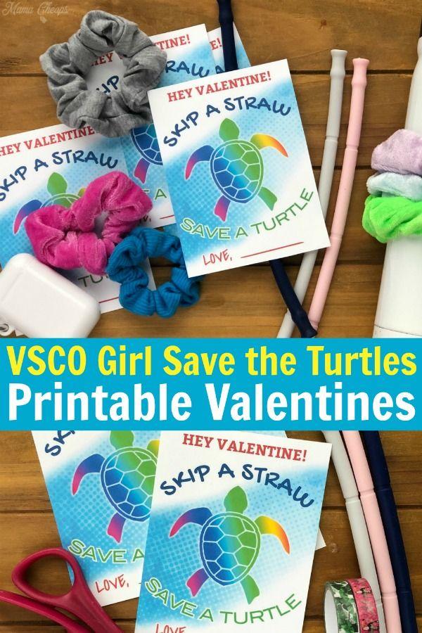 vsco girl save the turtles printable valentines in 2020