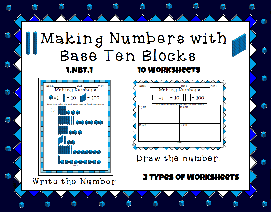 This worksheet set has students creating numbers based on base ten ...