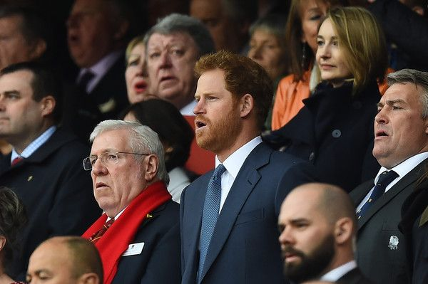 Prince harry looks on during the RBS Six Nations match between England and Wales at Twickenham Stadium on March 12, 2016