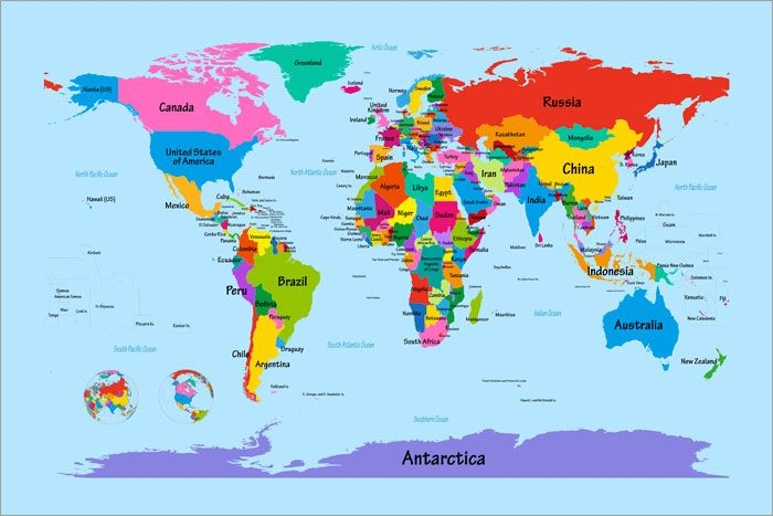 Map of the World Map Big Text for Kids Art Print Poster  u901