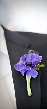The groom's boutonniere will be a plum anemone and dark purple sweet peas wrapped in thin green ribbon with the stems showing.