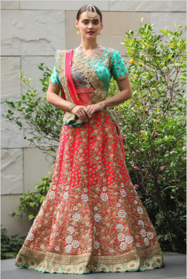 aa961ad2ea Mumbai Lehenga Shopping Guide. Red bridal lehenga with mint blue blouse  from Manyavar. Click on image to see price. #frugal2fab