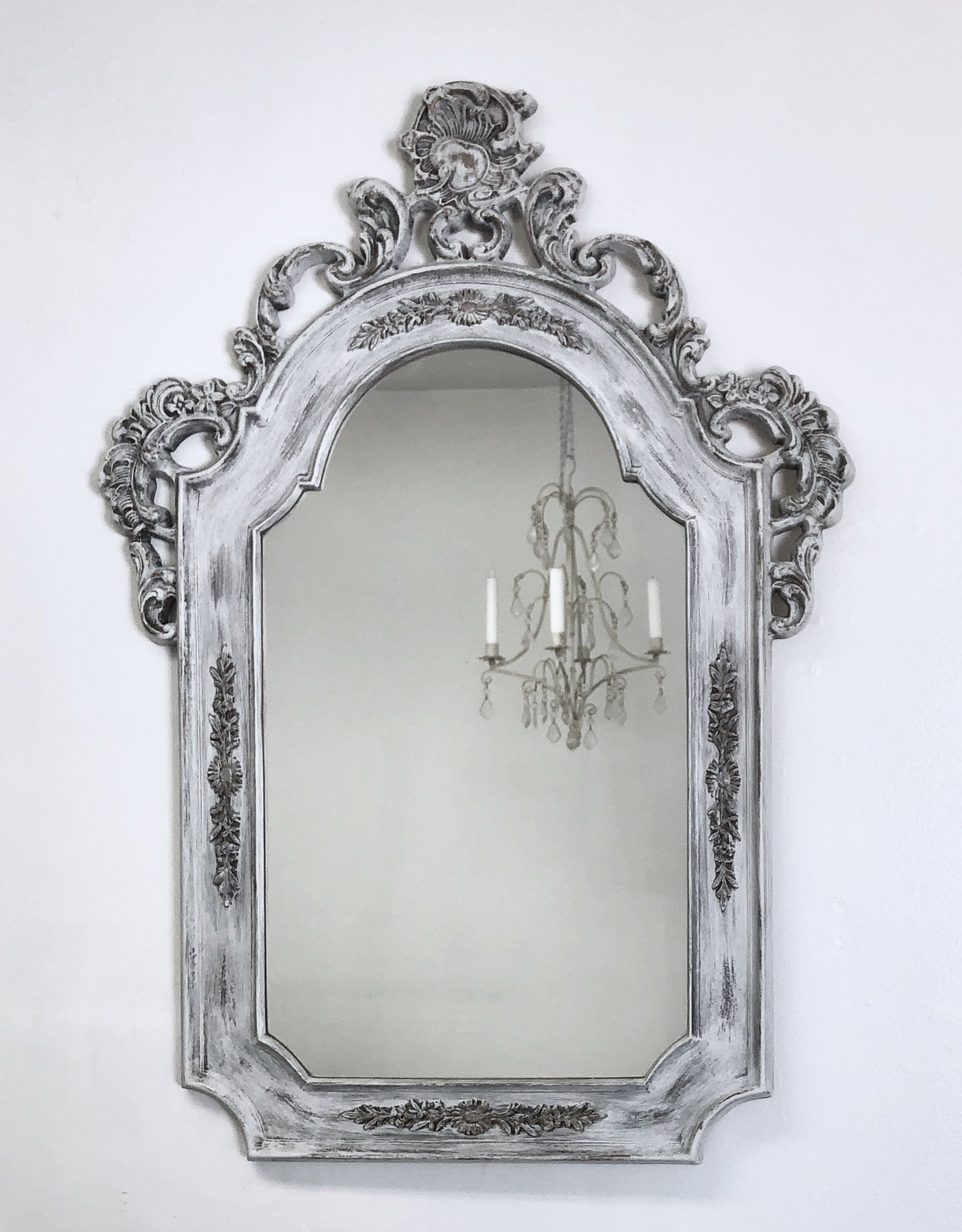 Antique Framed Mirror For Sale 32 X23 Distressed White Ornate Baroque Framed Mirror Shabby Chic Nurs Shabby Chic Mirror Frame Shabby Chic Mirror Ornate Mirror