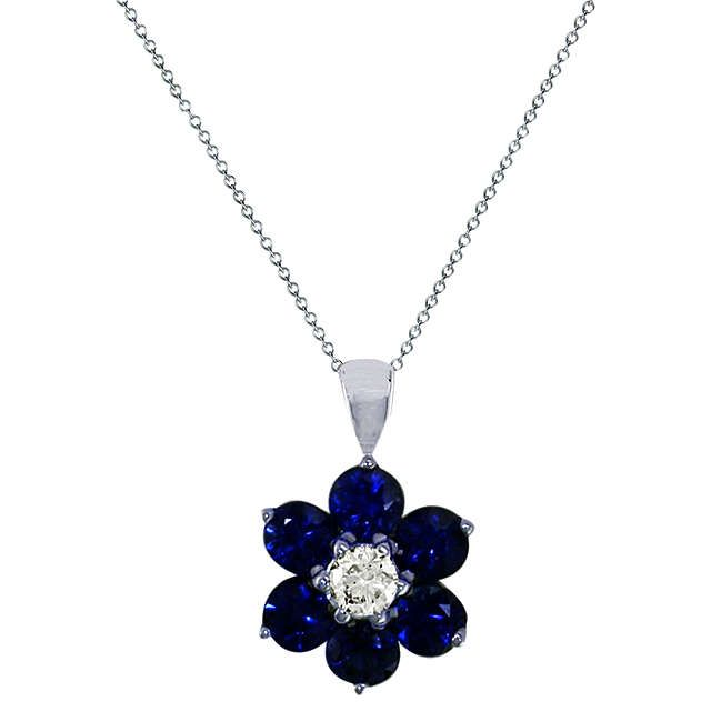bfedd377c4f4ab BuyEWA 18ct White Gold Diamond and Blue Sapphire Flower Pendant Necklace  Online at johnlewis.com