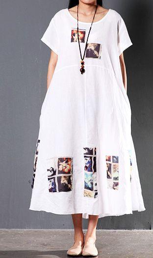 de482d7345fc6 White short sleeve linen sundress summer print maxi dresses causal fit  flare dress