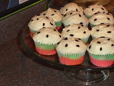 Vanilla Watermelon-Themed Cupcakes ~ Whimsical Cookery