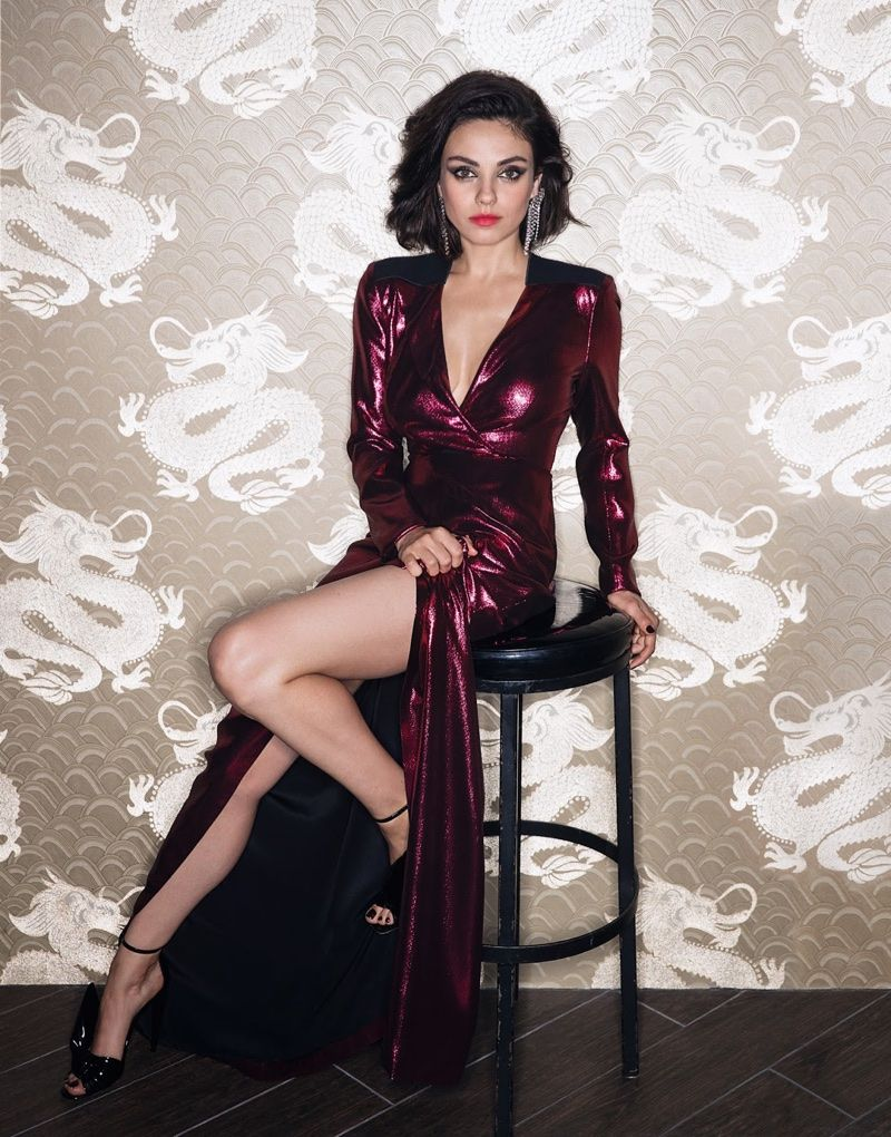 Mila Kunis Poses Naked On A Leather Chair new pics