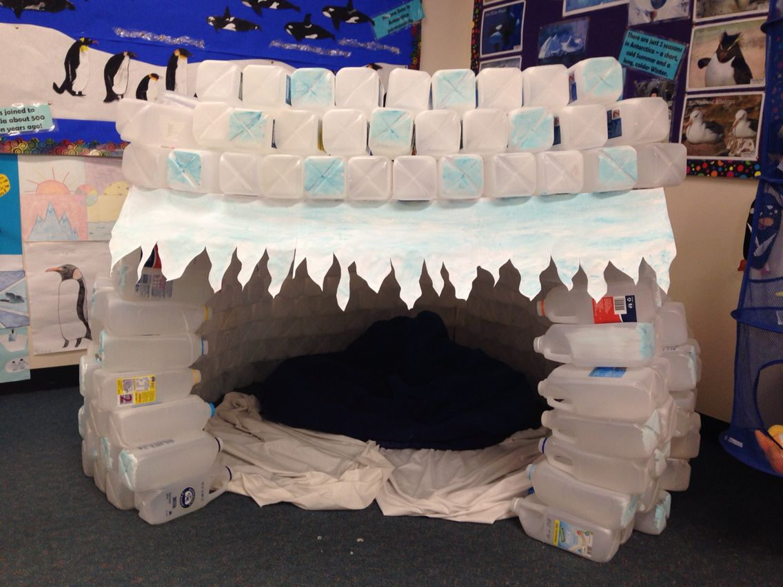 I Made This Igloo Out Of Milk Bottles For The Antarctica