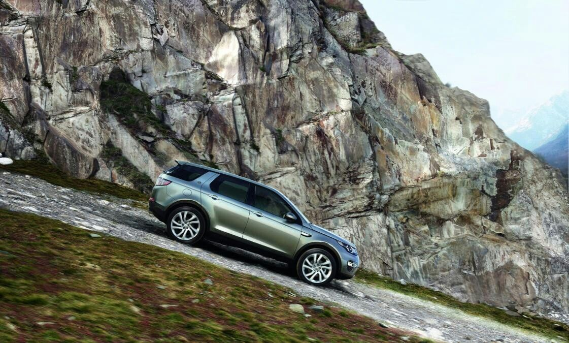Hold tight we are going down. Land rover discovery sport