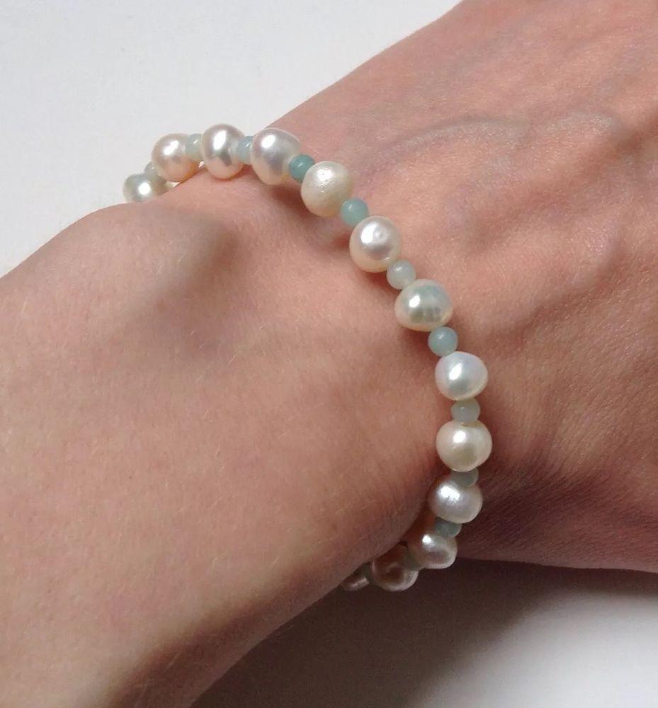 Pearl Bracelet W/Amazonite, Artisan Semi Precious Bracelet, Small. Pro Handmade