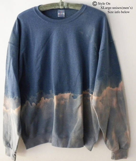 Acid wash blue Sweatshirt, tie dye Crewneck Sweatshirt, Dip Dye sweatshirt, blue, Pink, Gray, Boho, Grunge Sweatshirt, Rocker, Retro